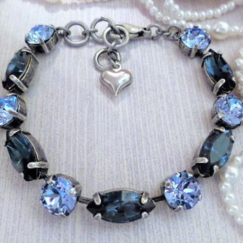 Swarovski Crystal Bracelet, Navettes and Rounds, Blue, Adjustable, Montana, Light Sapphire,Antique Silver,DKSJewelrydesigns,FREE SHIPPING