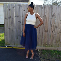 Navy Tulle Midi Skirt