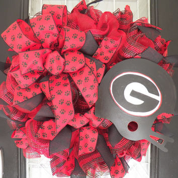Georgia Bulldogs Football Wreath, Georgia Bulldogs Door Hanger, Decoration, Door Decor, Ready to Ship