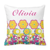 Baby Girl Large Flower Floral Pink Yellow Blue Throw Pillow