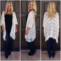 Fringe Or Foe Crochet Cardigan - CREAM