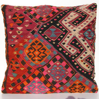 Hand Woven Wool Turkish Kilim Pillow by poeandco on Etsy