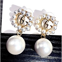 GUCCI Fashion New Letter More Pearl Long Earring Women