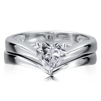 BERRICLE Sterling Silver 0.93 ct.tw Cubic Zirconia CZ Heart Solitaire Engagement Wedding Ring Set