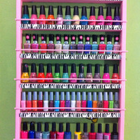 Pink with zebra print nail polish rack