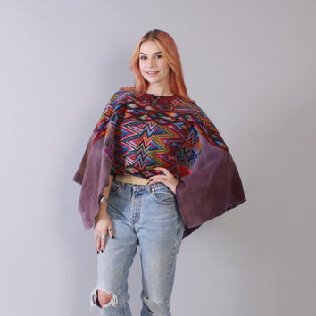 Vintage 70s Ethnic PONCHO / 1970s SW South American Woven Bohemian Festival Cropped Cape