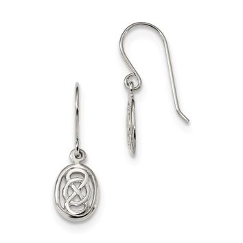 925 Sterling Silver Rhodium-plated Polished Celtic Knot in Oval Earrings