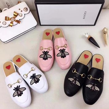 GUCCI Women Casual Fashion Embroidery Leather Mules Half Slipper Shoes