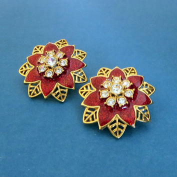 "Avon ""Festive Sparkle"" Earrings, Christmas in July, Vintage, Red Enamel & Icy Clear Rhinestone Poinsettia Clips, Big, Bold"