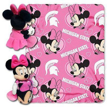 Minnie Mouse Cheerleader Michigan State Spartans NCAA Throw and Hugger Pillow