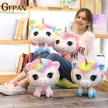 GFPAN 35cm Lovely Unicorn Plush Toys Soft Stuffed Cartoon Unicorn Dolls Cute Animal Horse Toys Birthday Gift For Children