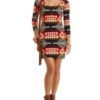 Tribal Print Bodycon Dress by Charlotte Russe - Black Combo
