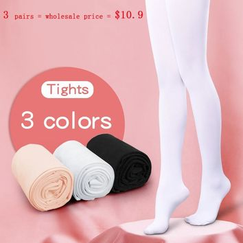 Kids Girls Dance Tights Black White Pink Women Stockings Ballet Microfiber Pantyhose 3 Pairs 80D