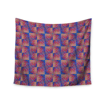 "Ebi Emporium ""Splash Revisited"" Maroon Blue Wall Tapestry"