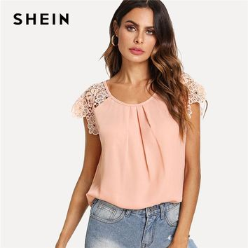 SHEIN Floral Lace Cap Sleeve Pleated Top Pink Scoop Neck Short Sleeve Women Plain Blouse Summer Weekend Casual Blouse