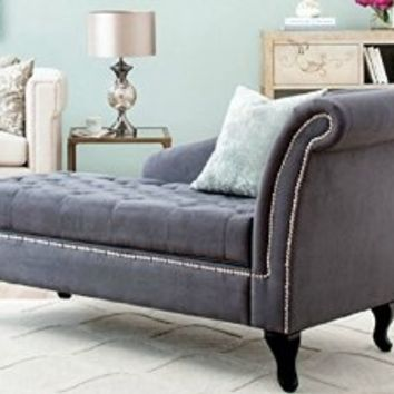 Traditional Storage Chaise Lounge - This Luxurious Lounger w/ Tufted Cushions is a Great Addition to Your Home, Living Room, or Bedroom -Made of Wood and Microsuede -Satisfaction Guaranteed! (Grey)