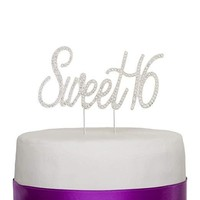 Sweet 16 Cake Topper - Silver Words