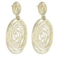 High Fashion Italian Sterling Silver with Yellow Gold Overlay Wire Style Double Oval Hanging Earrings!