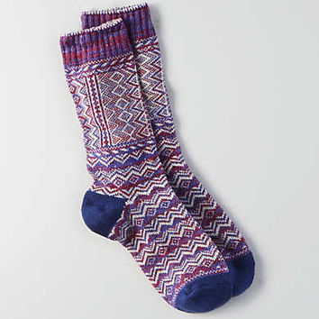 AEO Patterned Crew Socks , Purple