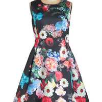 ModCloth Vintage Inspired Long Sleeveless Fit & Flare Time Is of the Efflorescence Dress