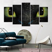 5 Piece Dragon Wall Print Canvas Art Toothless Canvas Wall Art Living Wall