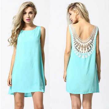 Spliced Crochet Back Chiffon Dress