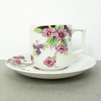 Occupied Japan purple flower demitasse and saucer set - Japanese floral espresso cup saucer - Hostess gift housewarming gift