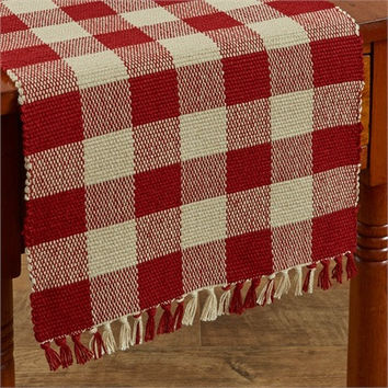 "Red Check Yarn Table Runner - 54""L"