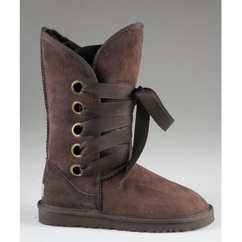LFMON UGG 5818 Tall Lace-Up Women Fashion Casual Wool Winter Snow Boots Chocolate