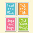 Cute Colorful Pink Orange Green Blue Kiss Me Goodnight Quote Crib Nursery Song Print Artwork Set of 4 Prints Wall Decor Art Picture