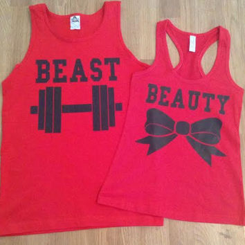 Free/Fast Shipping for US Beauty And The Beast Valentine's Day Matching Couples Tank Tops/Shirts: Red(black decal)