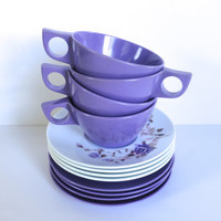 Purple Rose Melmac Texas Ware Cups Saucers Plates