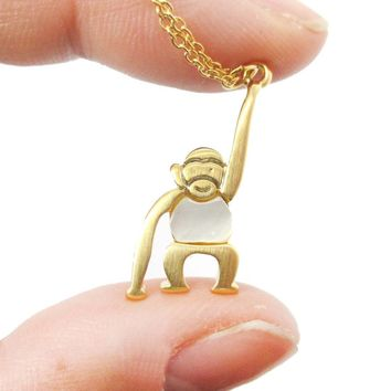 Adorable Monkey Chimpanzee Animal Themed Pendant Necklace in Gold | DOTOLY