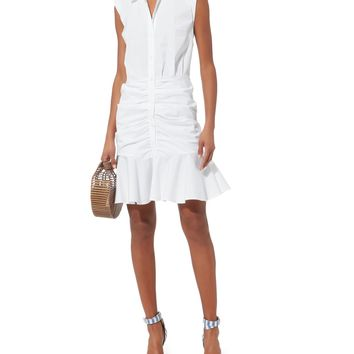 Core Bell White Ruched Dress