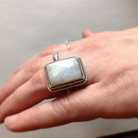 Vintage Opal Ring Sterling Silver Ring Cocktail Ring October Birthstone