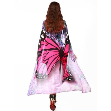 Pink Mesh Butterfly Hooded Cape Robe Cosplay Dance Costume Rave Wear Halloween