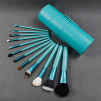 Brand Pro 12 Pcs Zoreya Makeup Brush Set in Round Turquoise Case Make up brushes