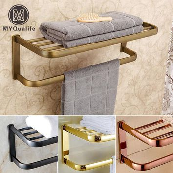 Luxury Wall Mount Brass Bathroom Towel Rack Towel Bar Bathroom Accessories Bathroom Shelf