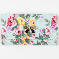 Floral Bow Wallet Mint One Size For Women 25612352301