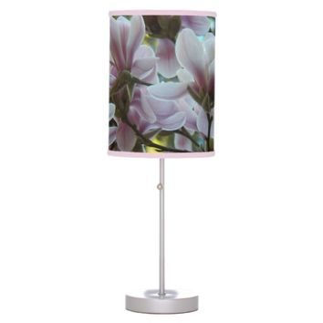 Magnolia Blossoms Floral Photo Table Lamp