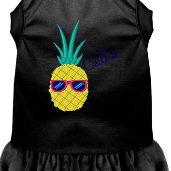 Pineapple Chillin Embroidered Dog Dress Black Lg (14)