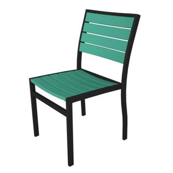 2 Patio Chairs - Aqua Blue With Black Frame