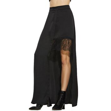Summer Ankle Length Black Plain Asymmetric High Waist Lace Patchwork Fashion Casual Long Skirt