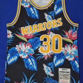 Warriors Mitchell & Ness 30 Curry Floral Fashion Jersey
