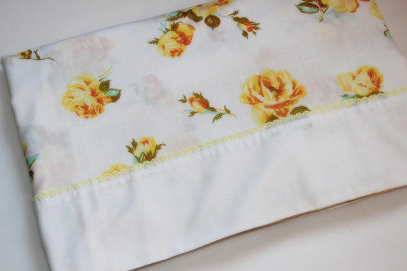 Vintage Twin Flat Sheet Floral Roses From