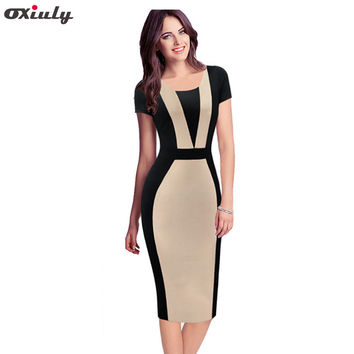 Oxiuly Womens Elegant Optical Illusion Colorblock Contrast Modest Slim Wear to Work Business Casual Party Sheath Pencil Dress