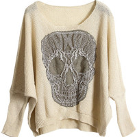 ROMWE | Skull Embroidery Apricot Jumper, The Latest Street Fashion