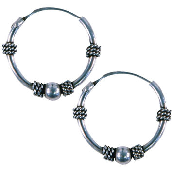 14mm Bali Hoop Twist & Ball Earrings