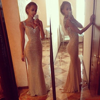 2015 New Women Low V Neck Elegant Fishtail Maxi Long Sexy Dress  Party Evening Weeding Dress = 1945937668
