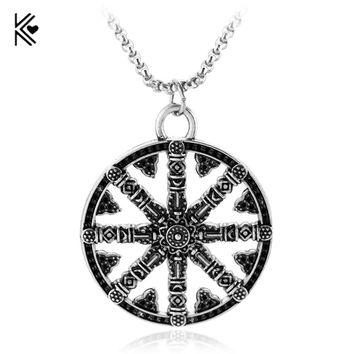Viking Odin's symbol of Norse Runic Pendant Necklace Viking Runes Retro Vegvisir Compass Pendant for Women Men Fans Gift